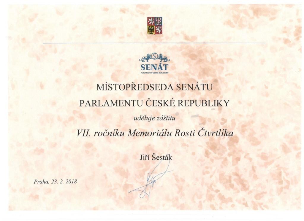 Záštita místopředsedy senátu Parlamentu České republiky
